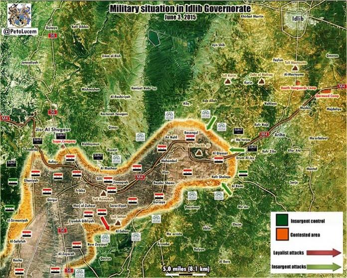Mapa kontrole u Idlibu za 3. jun 2015.