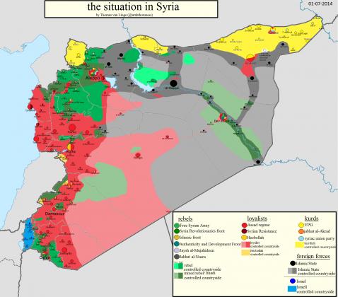 Mapa kontrole u Siriji za 1. juli 2014.