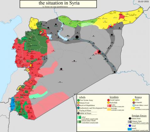 Mapa kontrole u Siriji za 1. juli 2015.