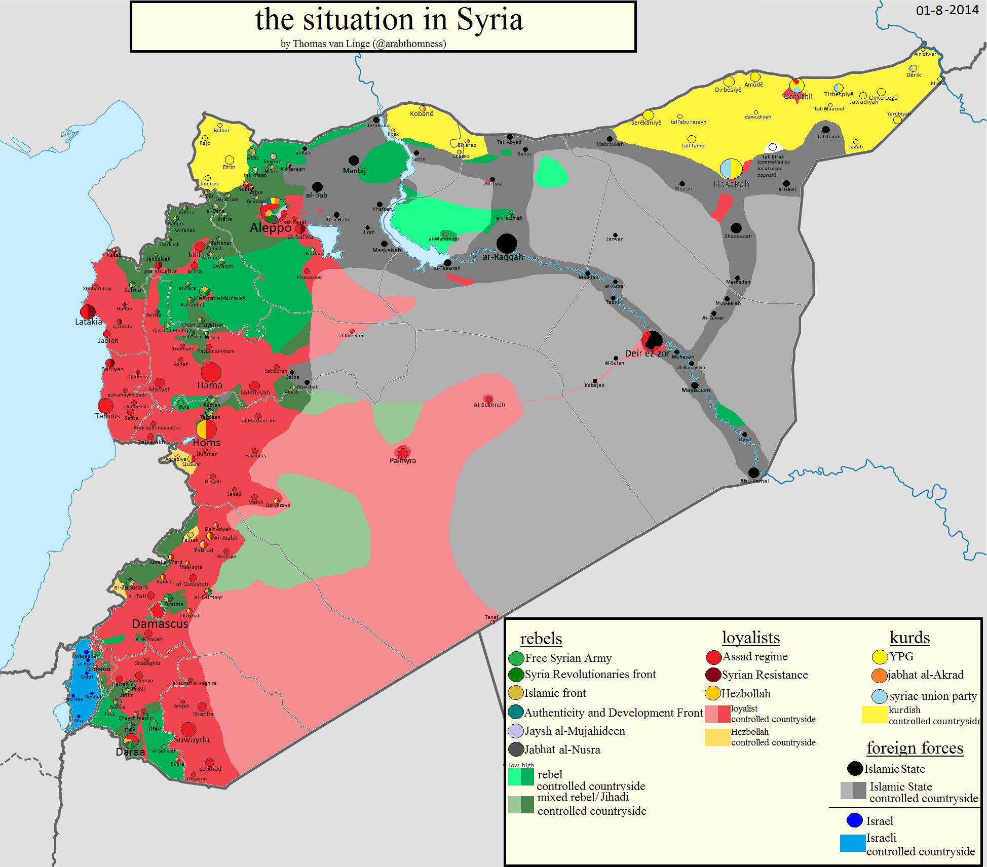 Sirija: Mapa kontrole 1. augusta 2014. godine