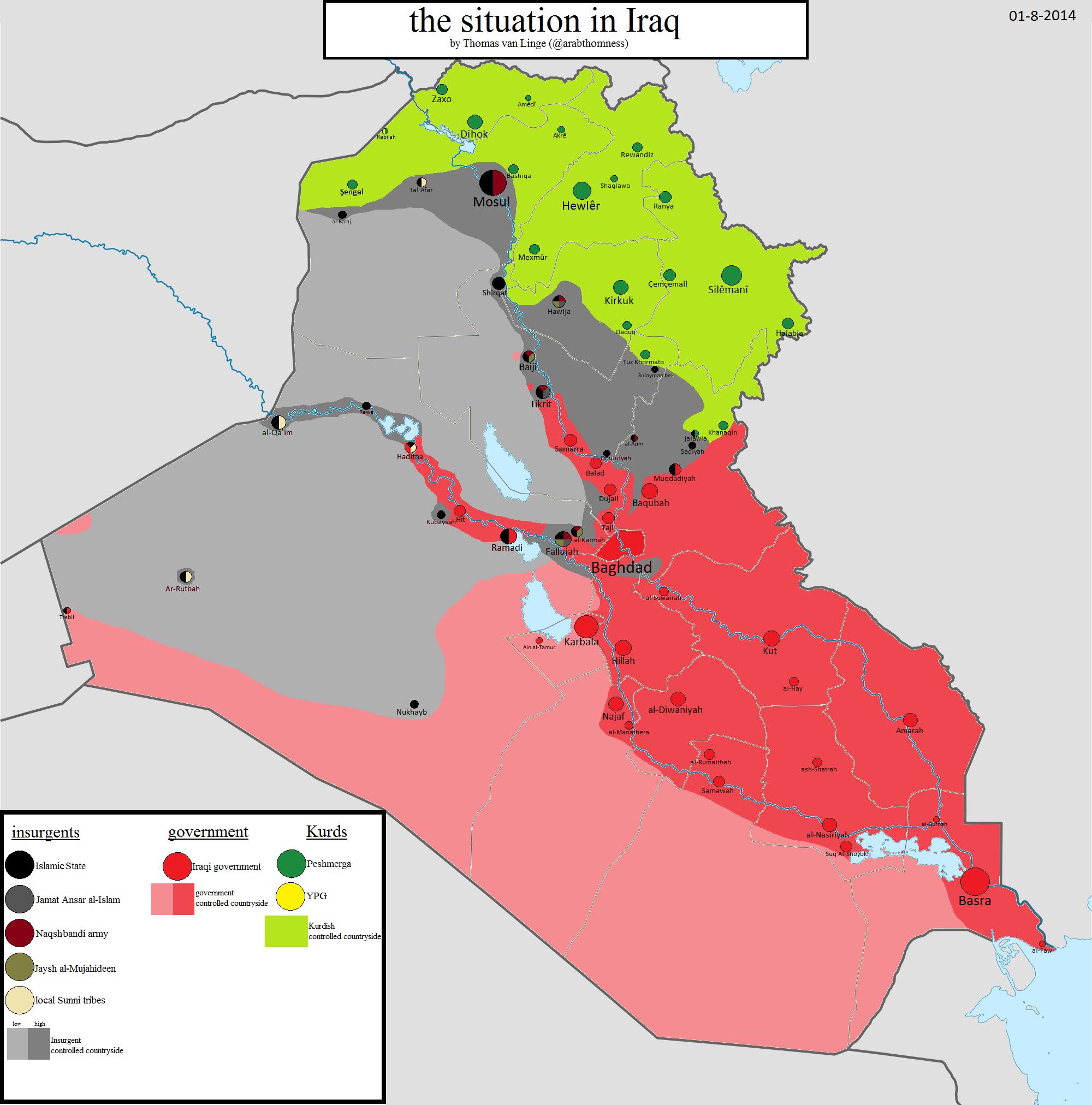 IRAK: Mapa kontrole 1. augusta 2014. godine