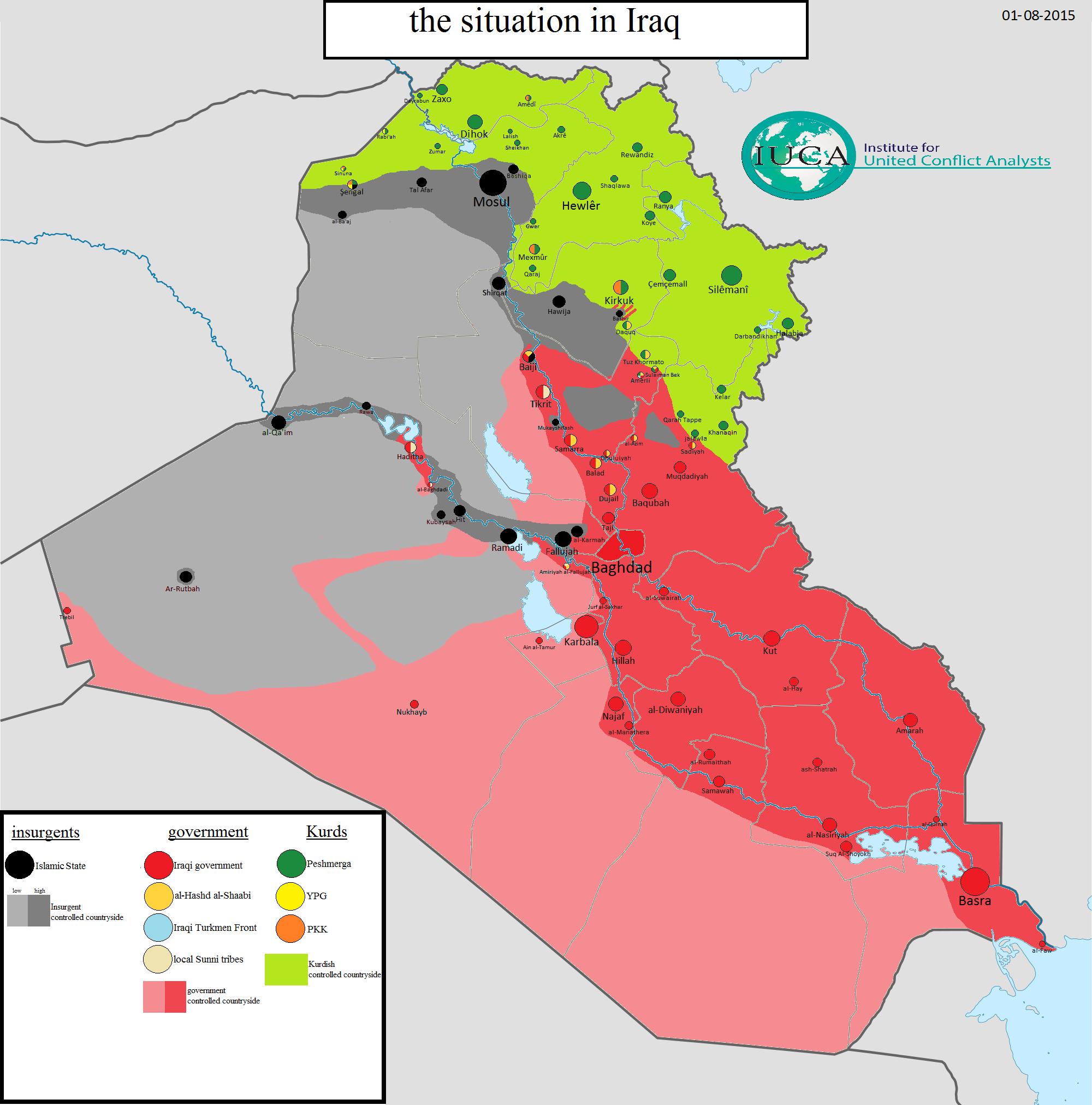 IRAK: Mapa kontrole 1. augusta 2015. godine