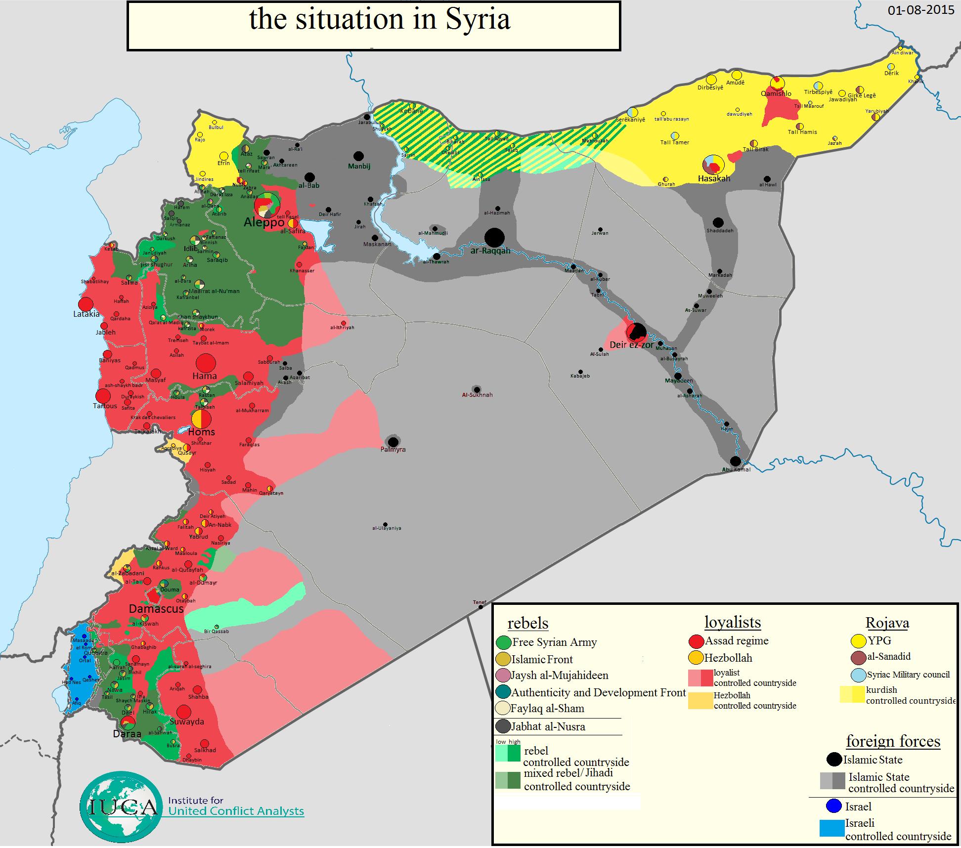 mapa sirije SIRIJA: Usporedne mape kontrole u augustu 2014. i 2015. godine  mapa sirije