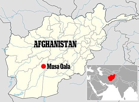 Musa Kala distrikt na mapi Afganistana