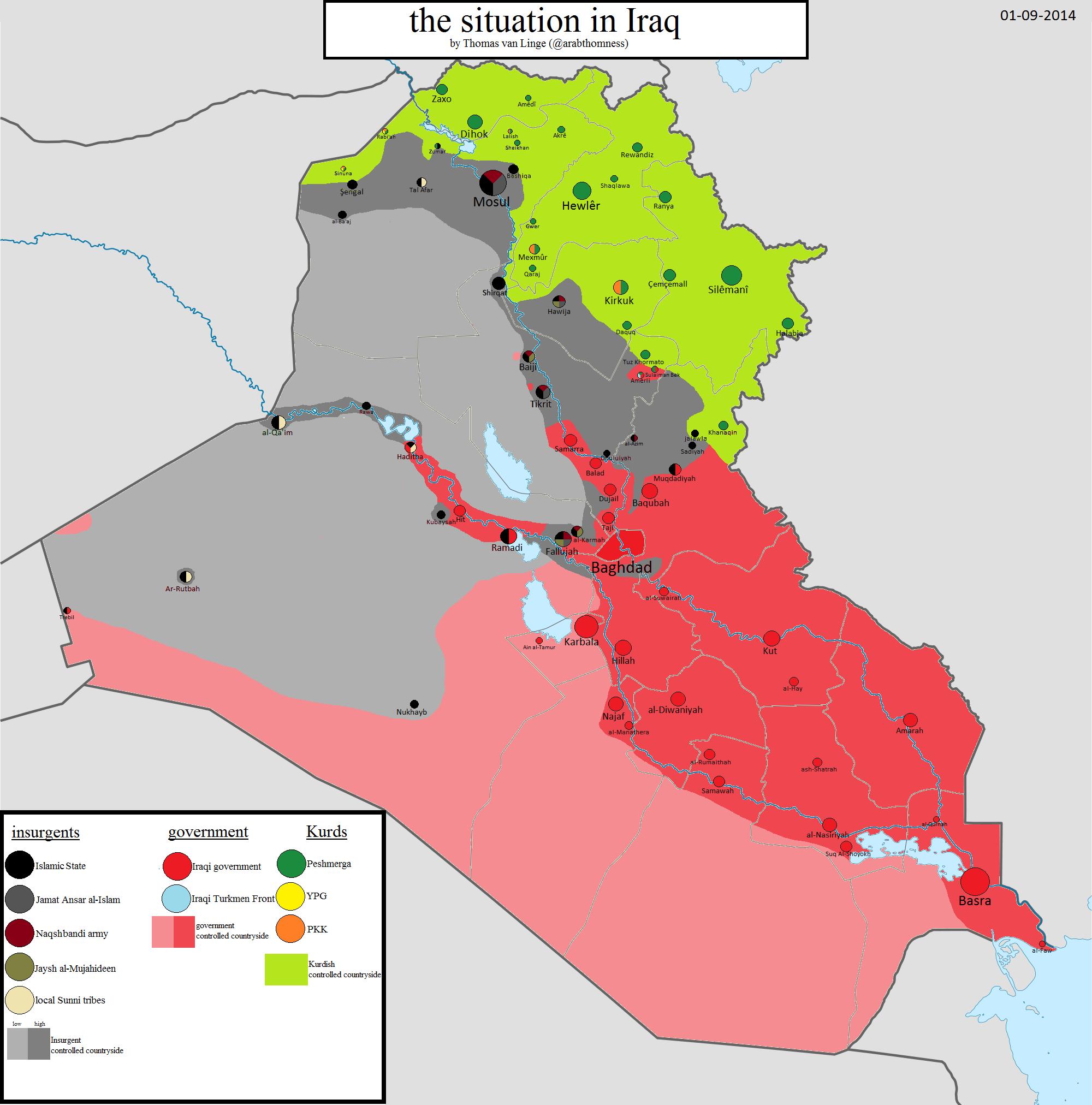 IRAK: Mapa kontrole 1. septembar 2014. godine