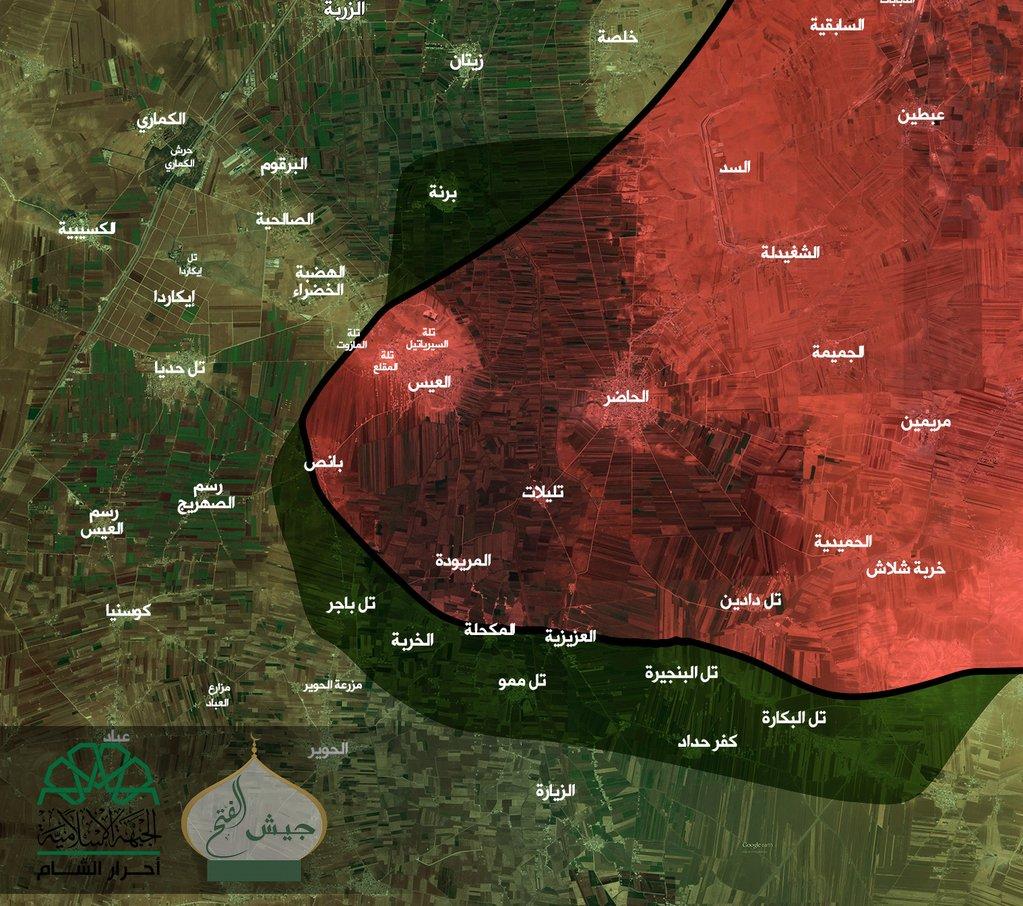 Mapa ofanzive Dzejšul-fetha južno od Halepa