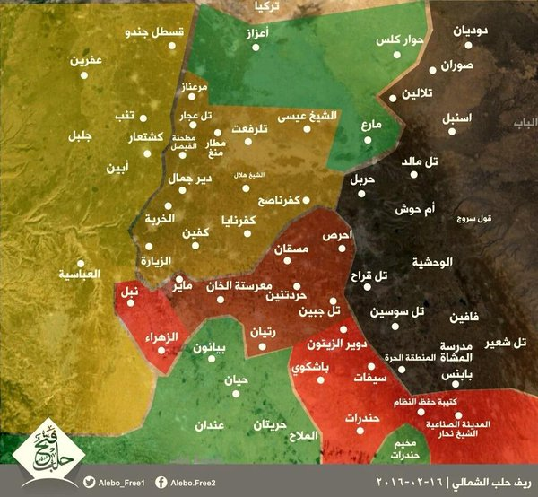 Mapa sjevera provincije Halep (žuto-Kurdi, tamno-žuto kurdska osvajanja zadnjih dana, crno-IDIŠ, crveno-režim, zeleno - džihadsko-oslobodilačke snage)