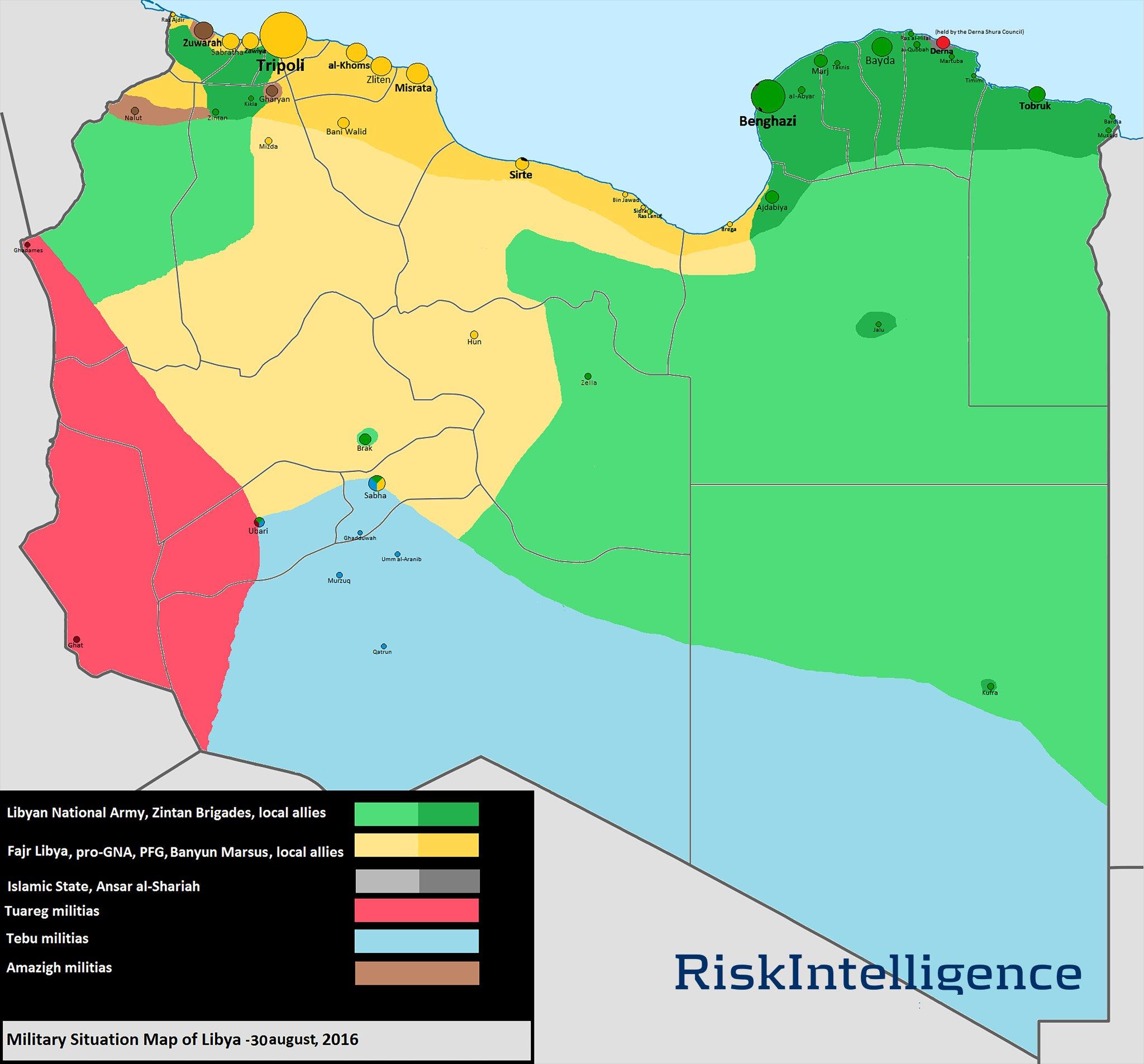 Vojna situacija u Libiji za 30. august 2016. godine.