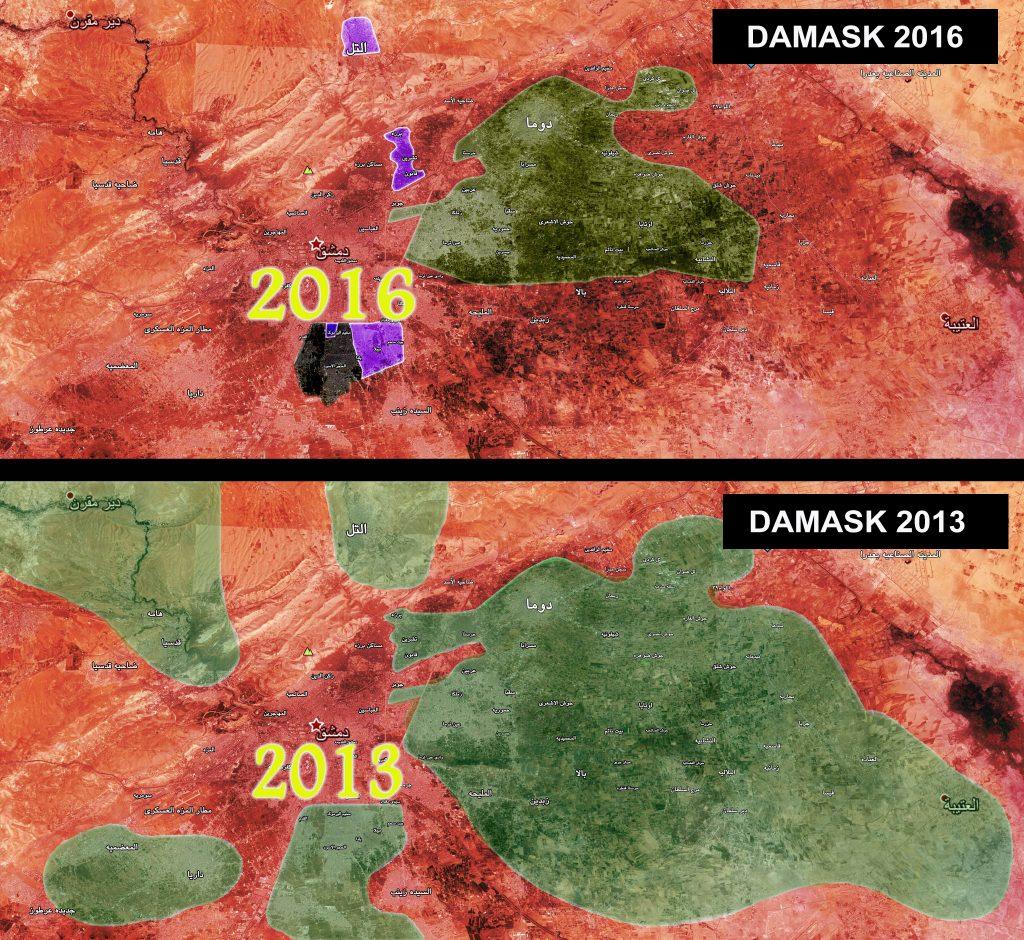 Usporedna mapa kontrole Damaska i okoline za 2013. i 2016. godinu