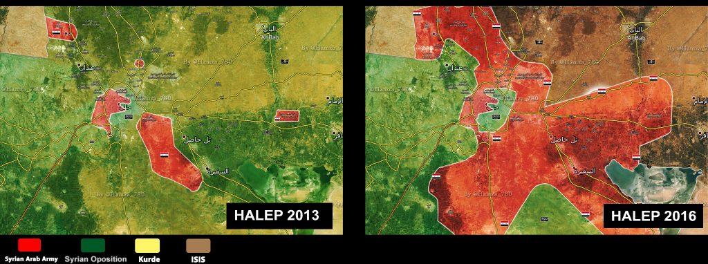 Usporedna mapa kontrole Halepa i okoline za 2013. i 2016. godinu