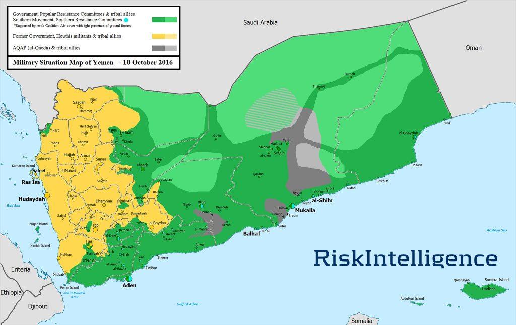Mapa kontrole teritorija u Jemenu za 10. oktobar 2016. godine