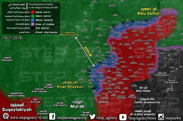 MAPA:Stanje na jugoistoku pokrajine Idlib nakon današnjeg napretka (moguća manja odstupanja)